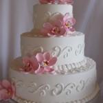 Bolo de Casamento da Noiva cor de rosa